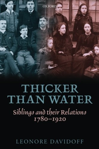 Thicker than Water: Siblings and their Relations, 1780-1920