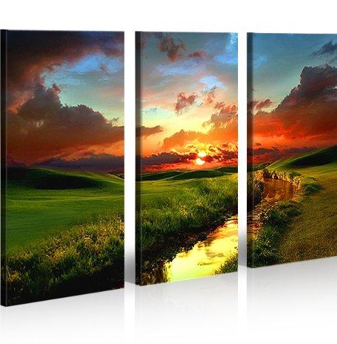 Landschaft 3 quadri moderni su tela pronti da appendere montata su pannelli in legno - Quadri da appendere in bagno ...