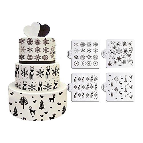 ART Kitchenware New 4pcs/set Christmas Snowflakes Deer Stencil for Cake Fondant Decorating Mold Color Beige/Semi-Transparent