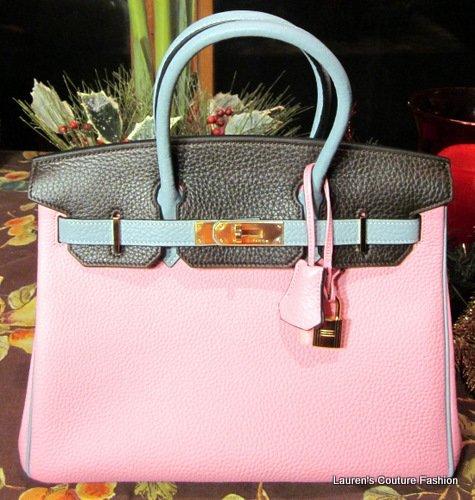 Rare 30cm Hermes Tri-color Pink Chocolate Brown & Ciel Birkin Gold Hw