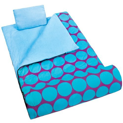 now-in-uk-wildkin-kids-sleeping-bag-nap-mat-slumber-bag-big-dot-aqua-by-wildkin