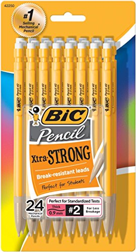bic-pencil-xtra-strong-yellow-barrels-thick-point-09-mm-24-count