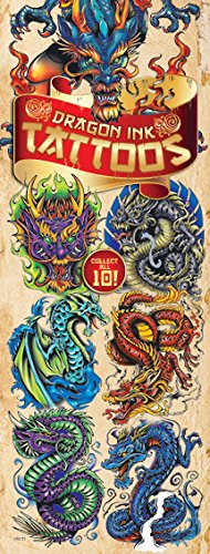 Dragon Ink Temporary Tattoos, 10 sheets of Fantastic Dragon tattoos