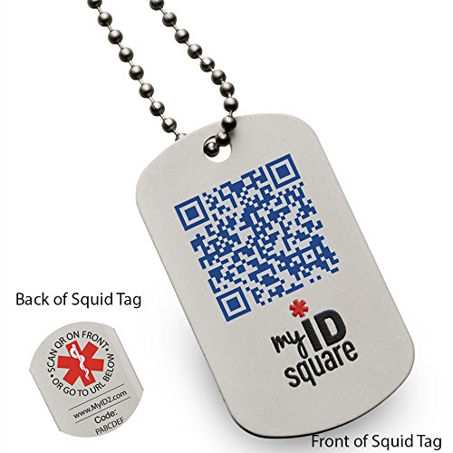 Pale blue dot squid medical alert id dog tag using qr code for Qr code dog tag