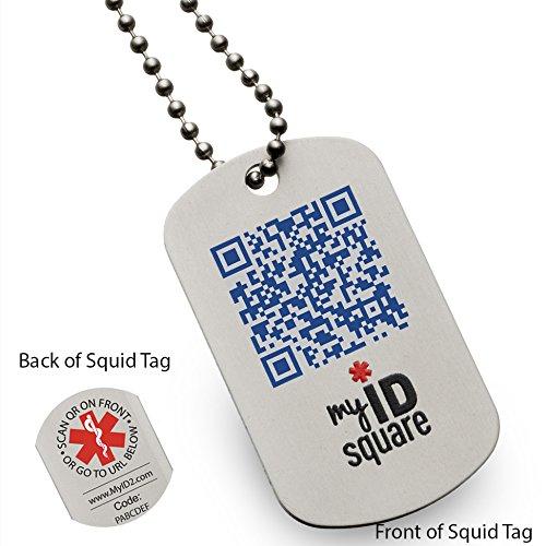 Qr Code Dog Tag Pale Blue Dot Squid Medical Alert Id Dog Tag Using Qr Code