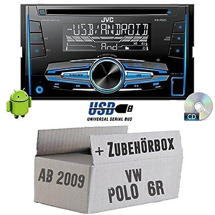 VW Polo 6R-JVC KW R520E-Autoradio 2DIN Kit de montage encastré -