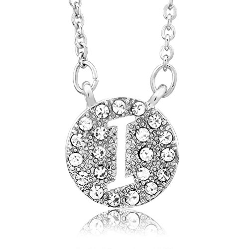 Sterling Silver Finish Cubic Zirconia Disc Initial 'I' Necklace