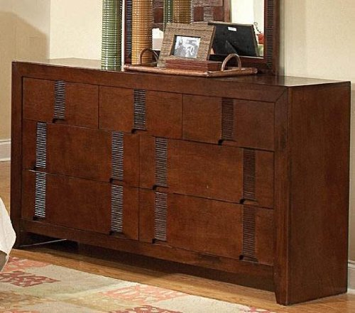 Storage Dresser with Bamboo Like Design in Cherry Finish