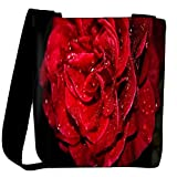 Snoogg Water On Red Rose Designer Womens Carry Around Cross Body Tote Handbag Sling Bags