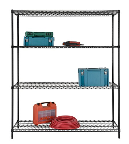 Excel ES-602472P NSF Certified All Purpose 4-Tire Shelving, 60 x 72 x 24 Inch, Black