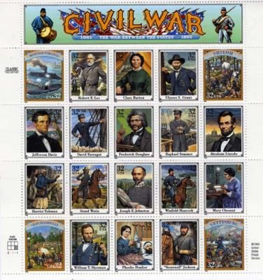 Civil War 20 x 32 Cent U.S. Postage Stamps 1995