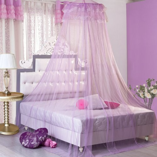 Housweety New Round Lace Curtain Dome Bed Canopy Netting Princess Mosquito Net (Purple)