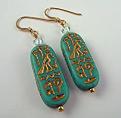 """Miss Tut"" Earrings (Turquoise Blue)"