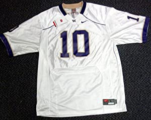 Jake Locker Autographed UW Huskies White Jersey PSA DNA RookieGraph