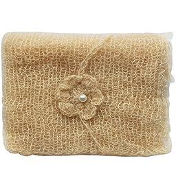 iEFiEL Newborn Baby Photography Prop Mohair Crochet Knit Wrap Blanket with Flower Headdress Headband (Beige)
