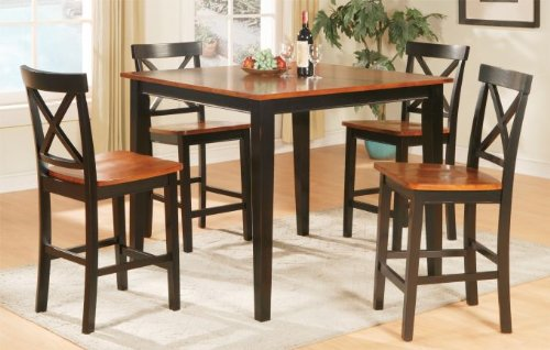 5pcs Counter Height Dining Table and Chairs Set - Walnut