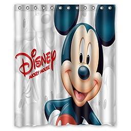 ARTSWOW Custom Waterproof Polyester Fabric Cute Disney Cartoon Mickey Minnie Mouse Shower Curtain Standard Size 60x72