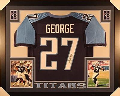 Autographed/Signed Eddie George Framed 35x43 Tennessee Titans Blue Football Jersey JSA COA
