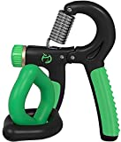 Norse Strengths Adjustable Hand Grip Strengthener 22- 88 Lbs with 2 Silicone Squeeze Rings - Forearm, Finger Kit Exerciser