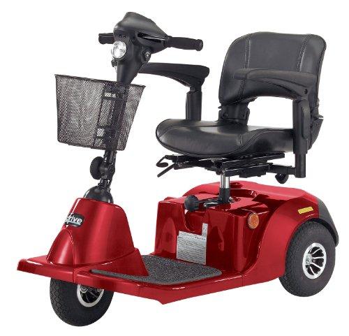 Medical Powered Mobility Steel Medium Red Daytona 3 GT Medium Sized 3 Wheel Scooter w/ Padded Seat