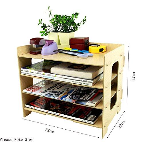 BAO CORE in legno fai-da-te Home Office Supplies-Scatola porta riviste per scrivania, per vassoi portacorrispondenza impilabili Rack scaffale Organiser a 4 strati L32xW23xH27cm Wooden