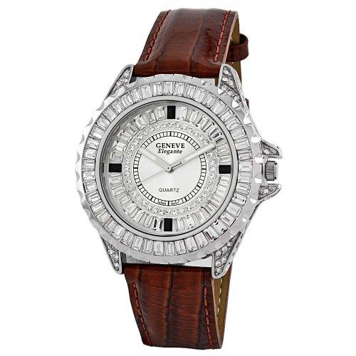 Geneve Elegante Unisex 5154_brown Swarovski Crystal Leather Watch