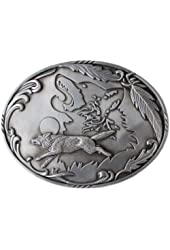 Double Howling Wolf Silhouette Pewter Belt Buckle
