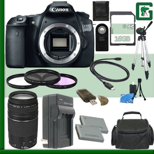 Canon Eos 60D Digital Slr Camera And Canon Ef 75-300Mm Iii Lens + 16Gb Green'S Camera Package 2