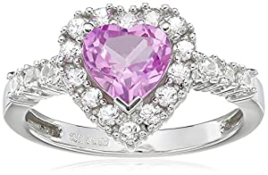 10k White Gold Heart-Shaped Created Pink Sapphire and Round Created White Sapphire Heart Ring, Size 7