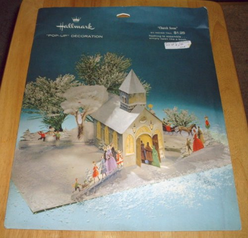 Vintage! 1975 Hallmark PopUp Decoration Centerpiece  Church Scene