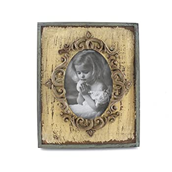 3x5-inch Vintage Rustic Feel Wooden Family Picture Photo Frame with Glass Front for Desk Top (Beige)