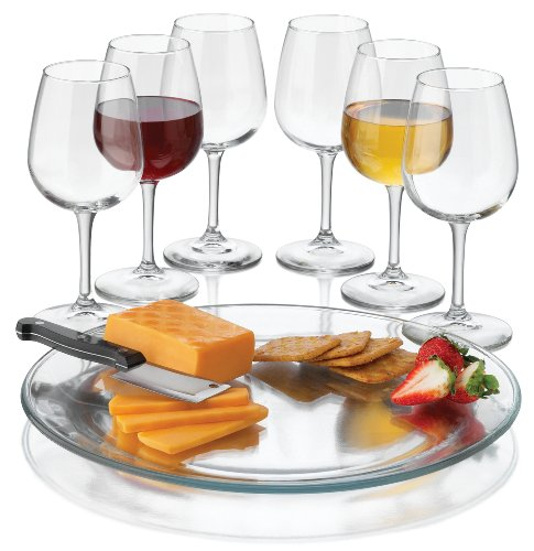 Libbey Wine Service With Six Wine Glass/One Platter And One Cheese Knife 8-Piece Clear