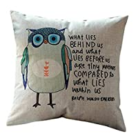 Goy Fashion Home Car Bed Sofa Decorative Pillow Case Cushion Cover (Letter Owl) by deardeer