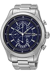 Seiko Quartz Chronograph Blue Dial Stainless Steel Mens Watch SPC165