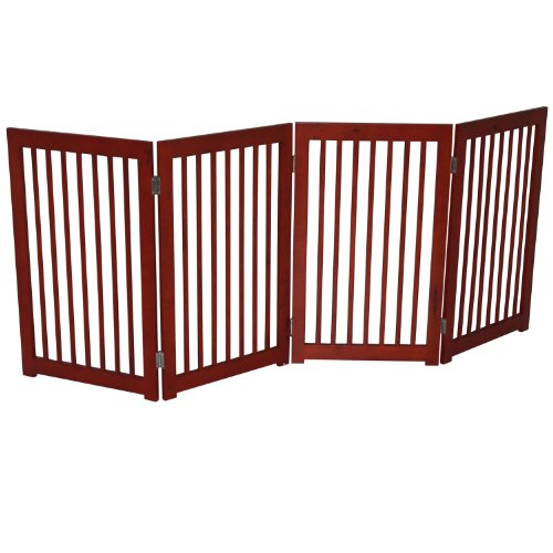 "Pawhut Wood 72"" 4-Panel Folding Wood Pet / Dog Playpen Fence front-59902"