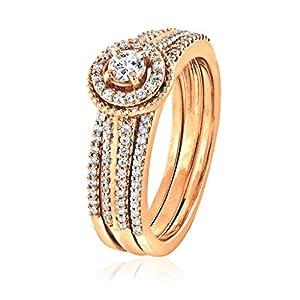 0.50 CT. Natural Diamond Bridal Collection 18K Rose Gold Engagement Ring Set With Matching Wedding Band