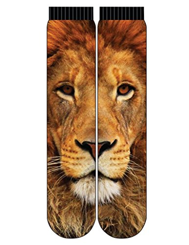 Reflex Mens Graphic Crew Socks (Below the Knee) Photoreal sublimated images, Shoe Size 6-13 (Lion)