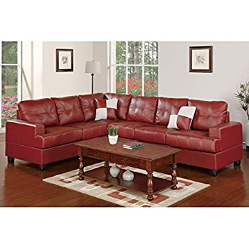 Boss Furniture F7642 Red Leather Sectional Sofa With Reversible Wedge