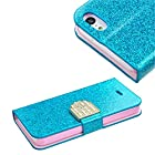 myLife Glittering Ocean {Sparkle Wallet Design} Faux Leather (Card, Cash and ID Holder + Magnetic Closing) Slim Wallet for the iPhone 5C Smartphone by Apple (External Textured Synthetic Leather with Magnetic Clip + Internal Secure Snap In Hard Rubberized Bumper Holder)