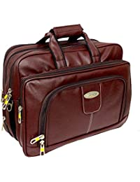 "AYS Stylish 16"" Brown Colour Faux Leather Full Expandable Messenger Laptop Bag Sleeve Sling Office Bag"