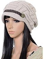 Women Knit Snow Hat Winter Snowboarding Beanie Crochet Cap (Beige)