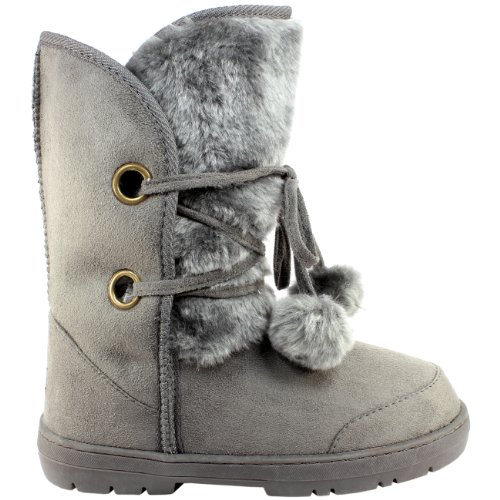 Womens Fur Lined Twin Bobble Winter Snow Boots