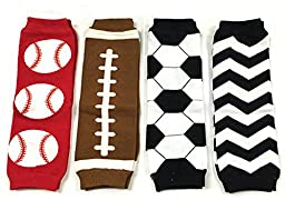 WeLin Baby Leg Warmers Colorful Kneepad For Infant Babies Toddlers And Children (Baseball. Football. Soccer. Black Chevron)