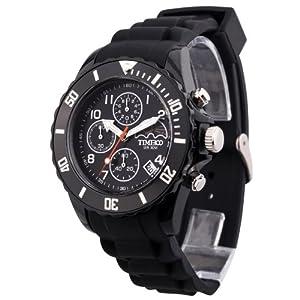 TIME100 Fashion Multifunction Environmental Silicone Black Strap Sport Watch #W70048G.01A
