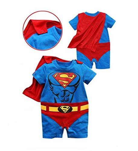 Rush Dance One Piece Super Hero Baby Muscle Superman Superboy Romper Onesie Cape (90 (12-18M), Red & Blue (Superman))