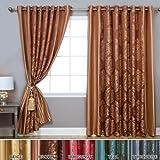 Wide Width Damask Jacquard Grommet Curtain 90