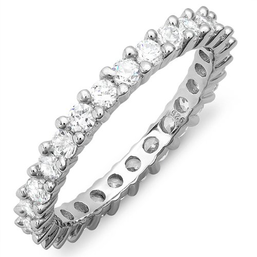 2.00 CT Sterling Silver 3 MM Stackable Eternity Band with White Cubic Zirconia CZ Ladies Wedding Anniversary (Available in size 6, 7, 8) size 8