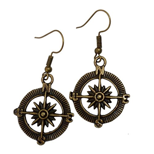 Steampunk Nautical Pirate compass earrings pendant charm