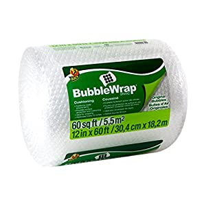 Duck Brand Bubble Wrap Original Protective Packaging, 12 Inches Wide x 60 feet Long, Single Roll (1061835)