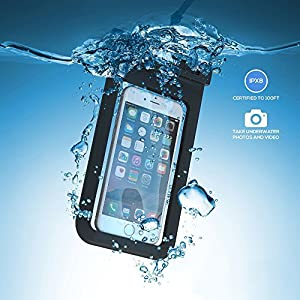 ZiBay(TM) Waterproof Case for Apple iPhone 6 6Plus 5S 5C 5, Samsung Galaxy S6 and S6 Edge S5 S4 - [Black] Universal Ultrapouch Waterproof Pouch with Touch Responsive Front and Back Transparent Screen Protector Windows fits any phone